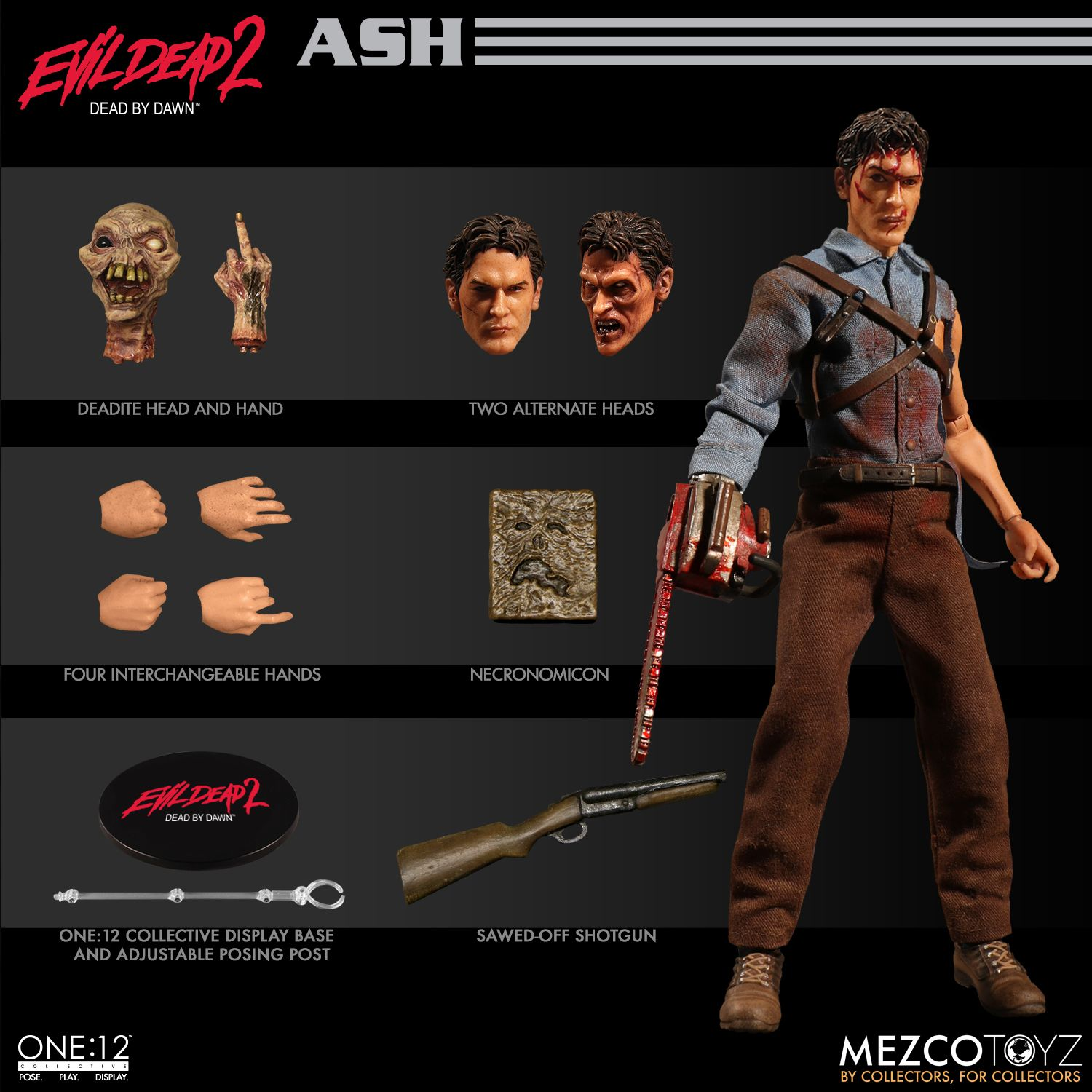 """MEZCO TOYZ ONE:12 COLLECTIVE EVIL DEAD 2 ASH 6/"""" ACTION FIGURE BRAND NEW IN HAND"""