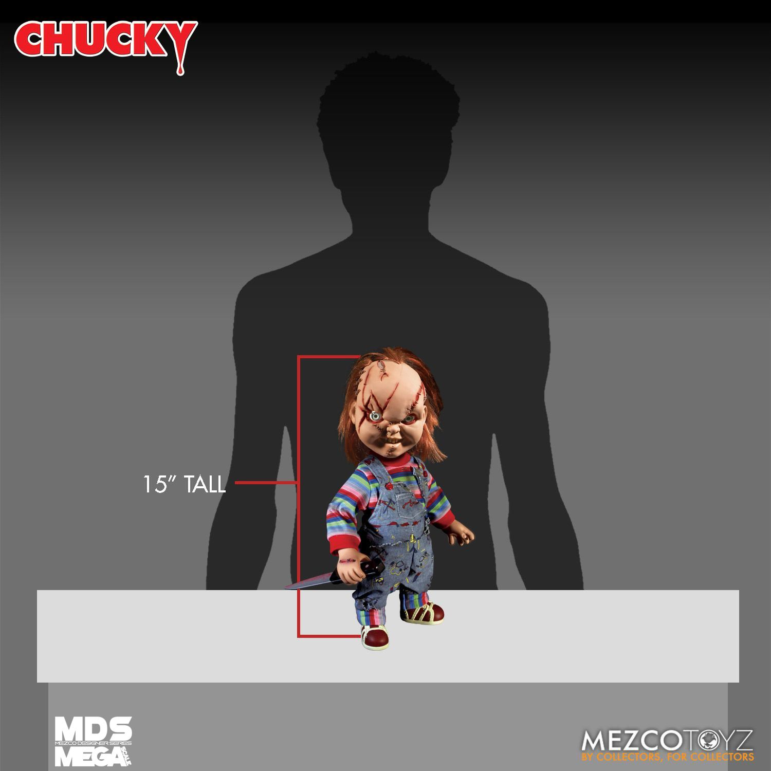 """CHILD/'S PLAY 15/"""" INCH MEGA SCALE SCARRED TALKING CHUCKY DOLL FIGURE MEZCO 78003"""