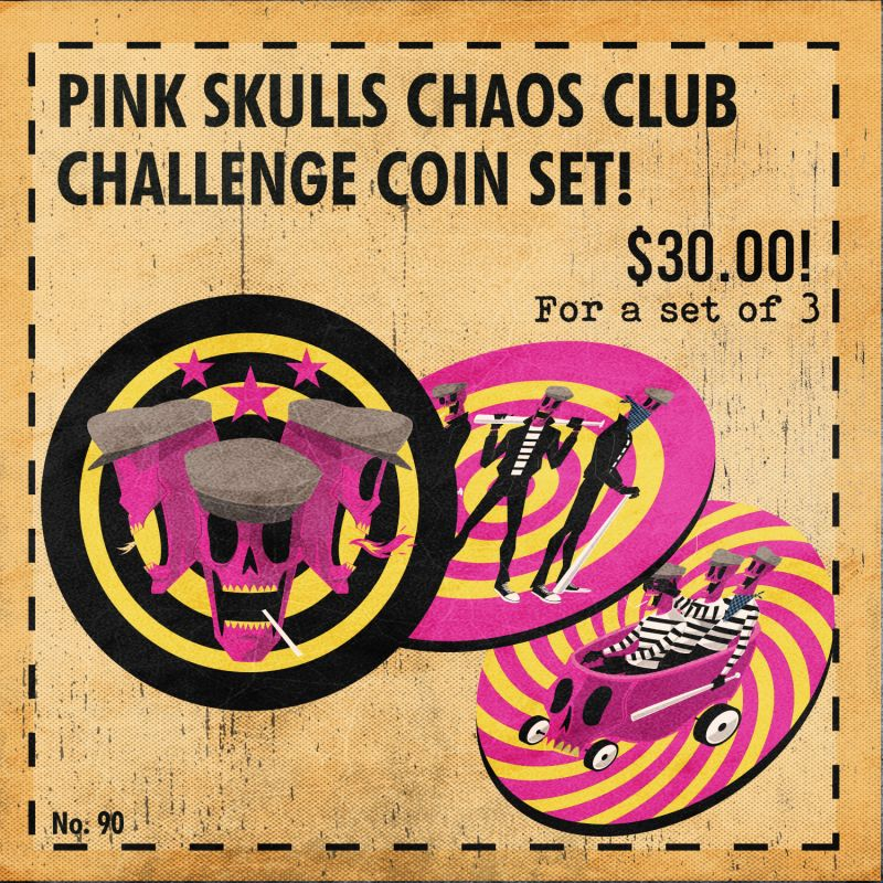 Rumble Society: Pink Skulls Chaos Club Challenge Coin Set