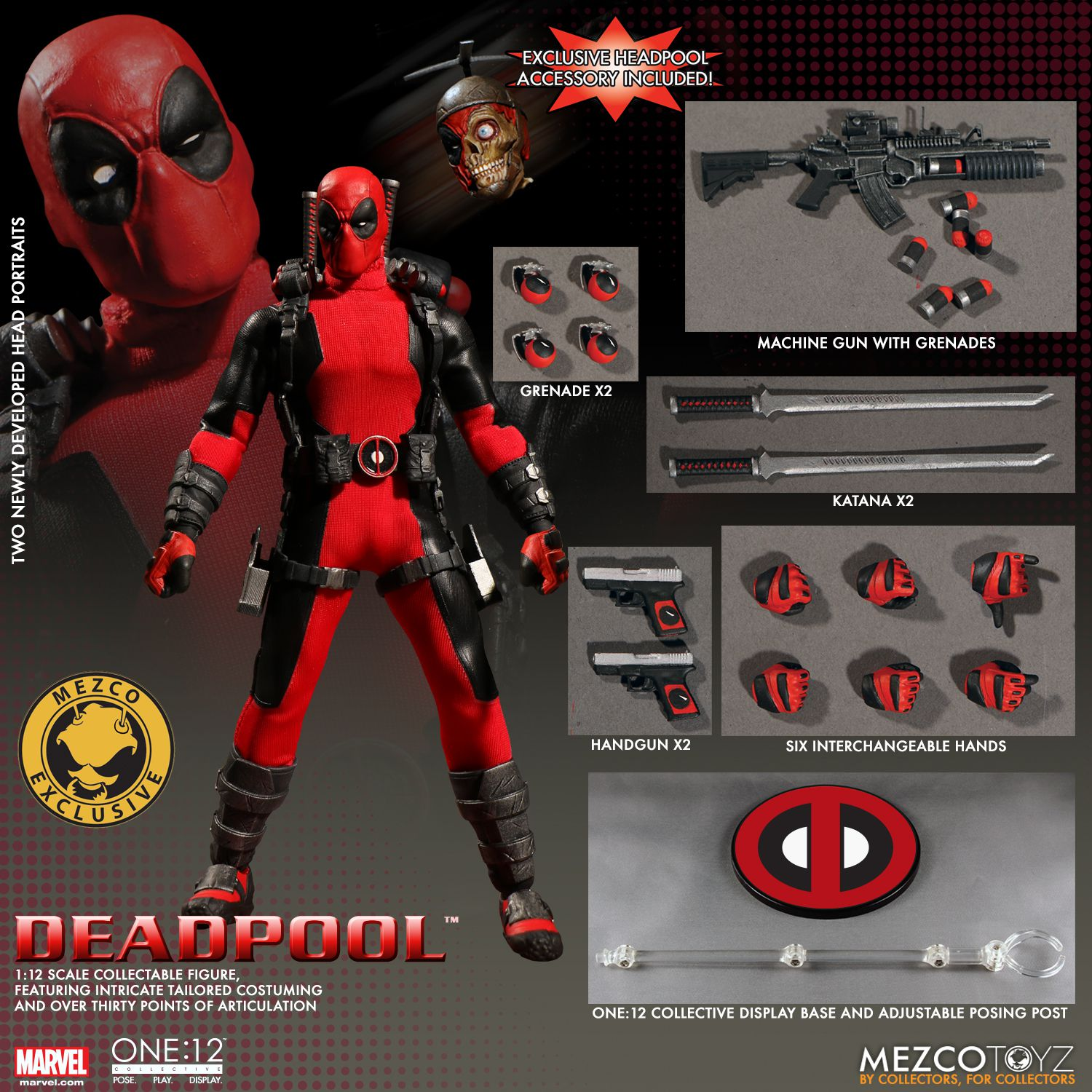 One 12 collective marvel universe deadpool action figure for Headpool